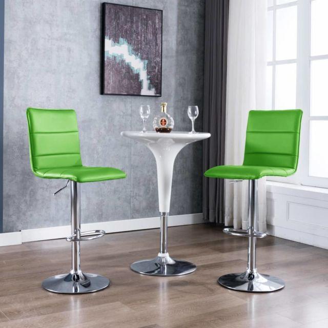 Magnifique Fauteuils et chaises famille Monaco Chaises de bar 2 pcs Vert Similicuir