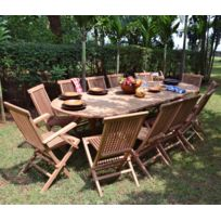 Teck'ATTITUDE - Salon de jardin en teck Ecograde© Miami, table extensible 1.96 à 2.96 m + 10 chaises 2 fauteuils Java