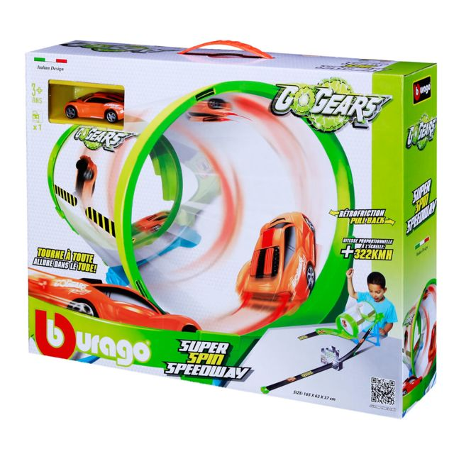 Bburago Circuit de voitures : Go Gear Super Spin Speedway + 1 voiture