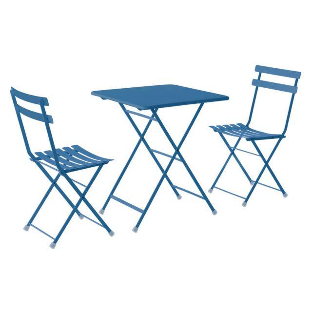 Salon de jardin 2 personnes en acier et tôle pleine: chaises + 1 table  carrée pliantes Rainbow