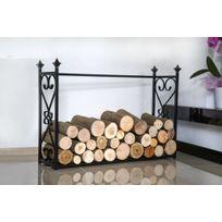 Farm-mdlt - Porte bûches rectangulaire en acier noir 60x90x25 cm