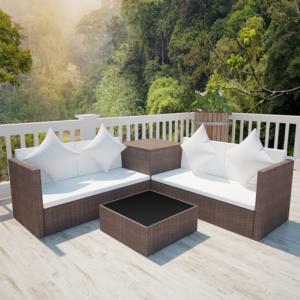 Salon De Jardin Avec Table Coffre | Vidaxl Salon De Jardin En Polyrotin Marron Avec Coffre Rangement