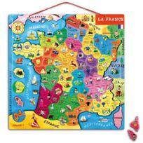 """Janod - puzzle en bois de 93 pieces """"la france"""", magnetique"""