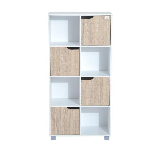 HOMCOM - Bibliothèque meuble de rangement bicolore 4 casiers ouverts 4  portes coloris bois de chêne 576666f21b23