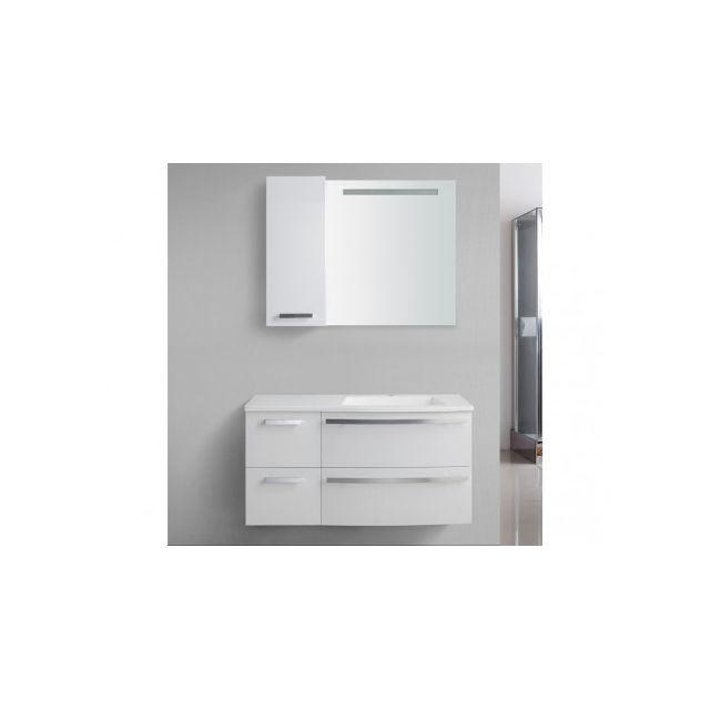 Marque Generique Ensemble de salle de bain Nereide - meubles + vasque + miroir - Blanc