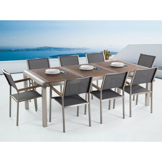 Beliani - Table de jardin acier inox - plateau bois triple 220 cm ...