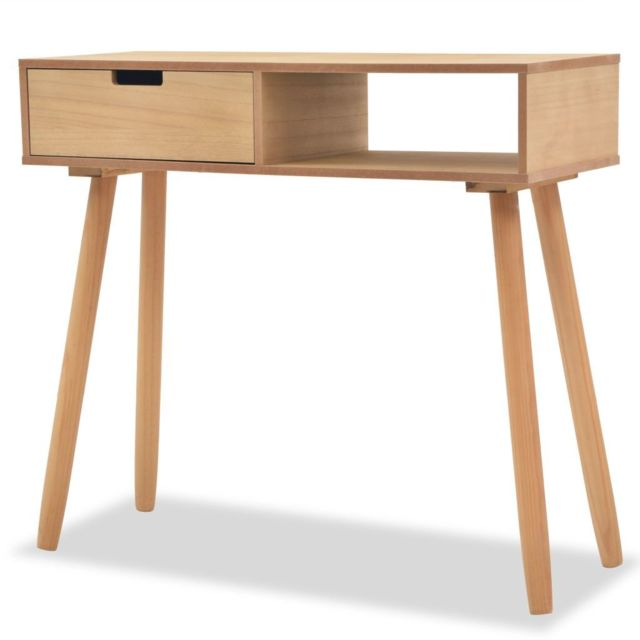 Contemporain Consoles serie Managua Table console Bois de pin massif 80 x 30 x 72 cm Marron