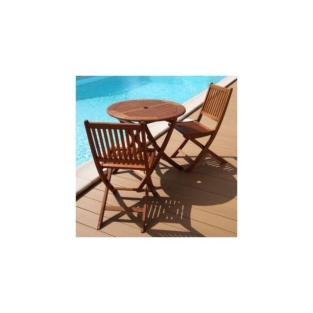 Delamaison - Salon de jardin Sophie Table D80 + 2 chaises Mars - pas ...