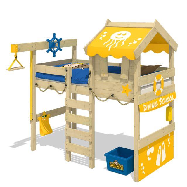 WICKEY Lit mezzanine CrAzY Jelly avec toit en bois Lit pour enfant - jaune