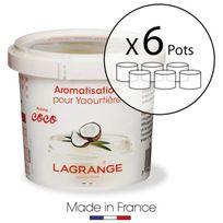 Lagrange - Lot de 6 pots d'aromatisation pour yaourts Coco