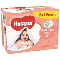 Huggies - Lingettes Soft Skin enrichies Vitamie E 2+ 1 Gratuite -3x56