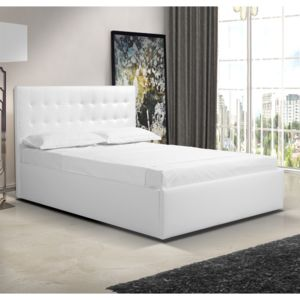 casa baoli lit capitonn simili blanc 140 x 190. Black Bedroom Furniture Sets. Home Design Ideas