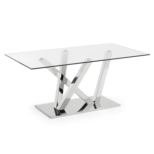 Kavehome Table Nyc 180x100, inox et verre transparent