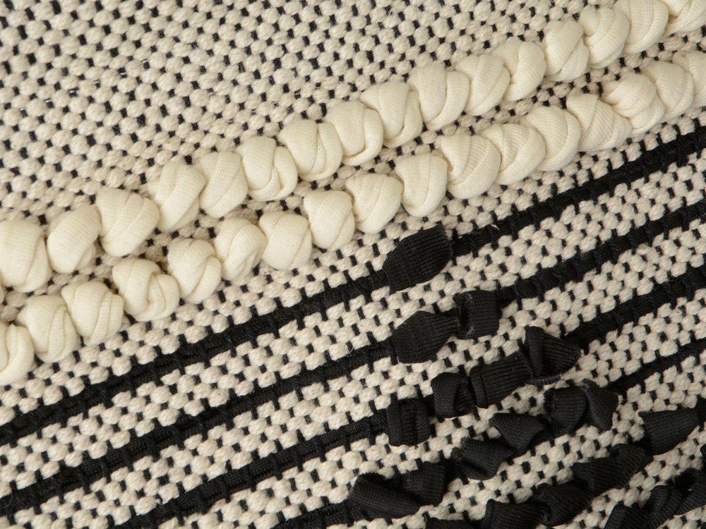 Décoration murale 100% coton H.80cm motif ethnique noir et blanc ivoire Ailleurs