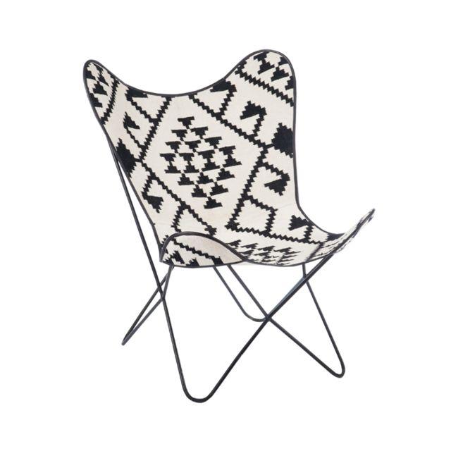 Autre - Chaise en jute et métal aztèque 75x87x86cm Ecru