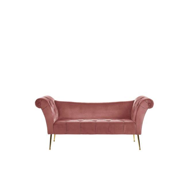BELIANI Chaise longue en velours rose NANTILLY - beige