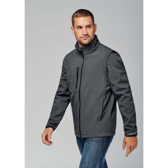 Proact Veste softshell manches amovibles Pa323 - gris - homme