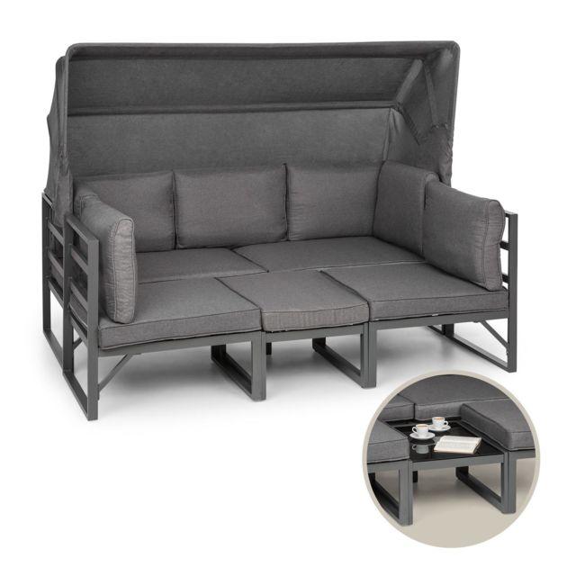 BLUMFELDT Ravenna Lounge Salon de jardin polyrotin : Canapé 3 places , table basse avec plateau verre , 2 fauteuils - Coussins inc