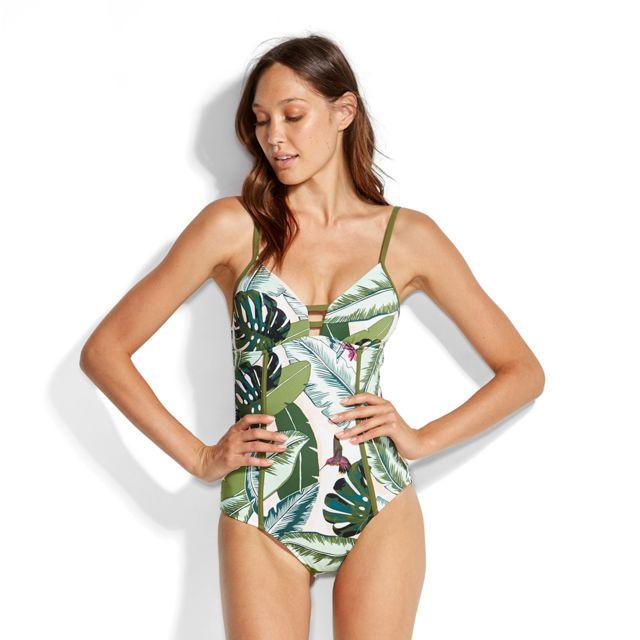 8c3088a678 Seafolly - Maillot de bain 1 Pièce Palm Beach Vert - pas cher Achat / Vente  Maillots 1 pièce - RueDuCommerce