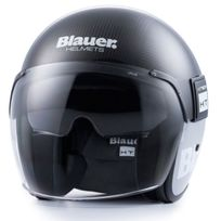 Blauer - casque jet moto scooter Pod fibre carbone brillant
