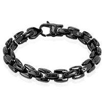 Renobijoux - Bracelet/Chaine homme acier ionisé noir 22.5cm
