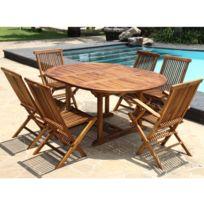 Bois Dessus Bois Dessous - Salon de jardin teck en bois de teck huilé 6/8 pers Table ovale larg 120cm 4 chaises 2 fauteuils