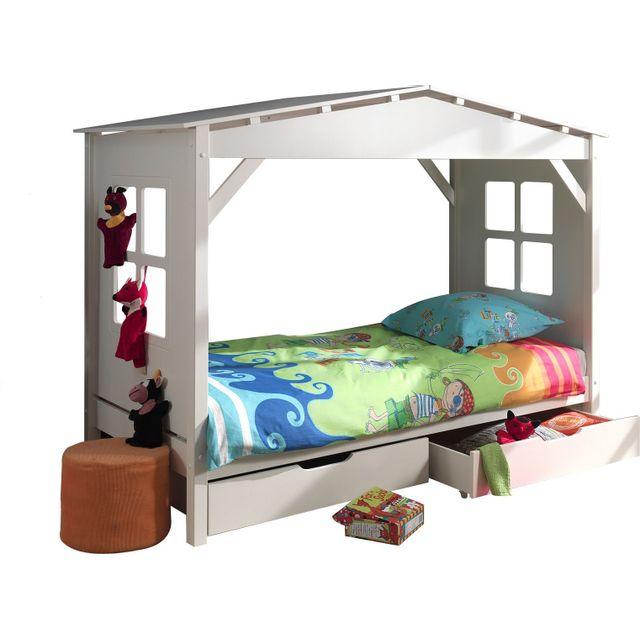 COMFORIUM - Lit cabane 90x200 avec 2 tiroirs de rangement en pin massif coloris blanc 90cm x 200cm