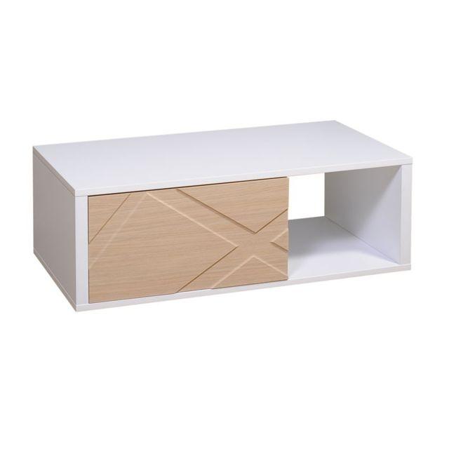 Tousmesmeubles Table basse 1 tiroir Blanc/Chêne - Jodie n°1