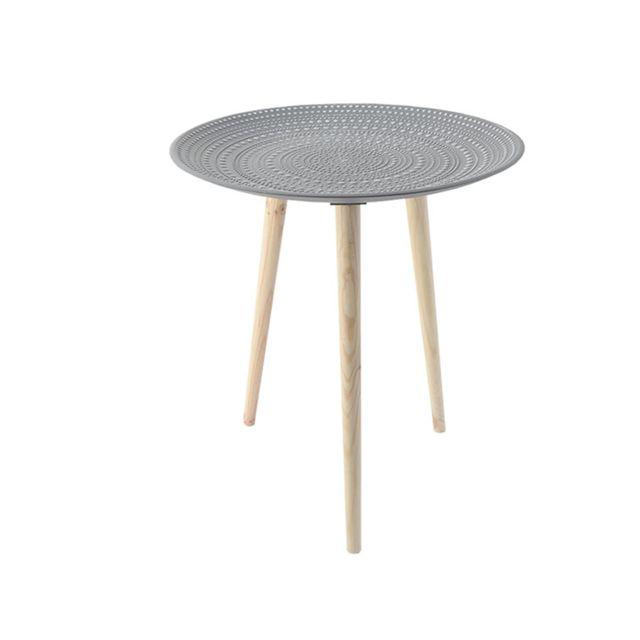 Pegane Table d'appoint en bois coloris Gris - D 49 x H 57 cm