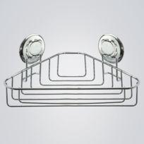 Best lock - Tablette d'angle en acier chromé à ventouse 23.3x23.6x13.2cm Easy