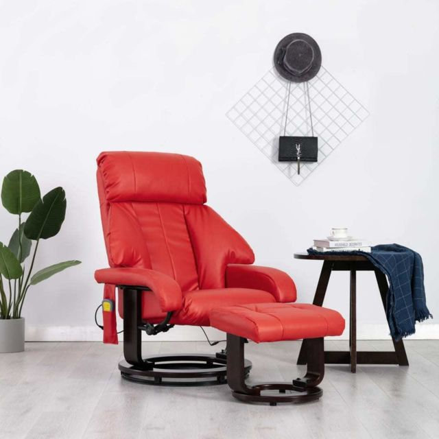 Vidaxl Fauteuil de Massage Tv Rouge Similicuir Electrique Inclinable Salon