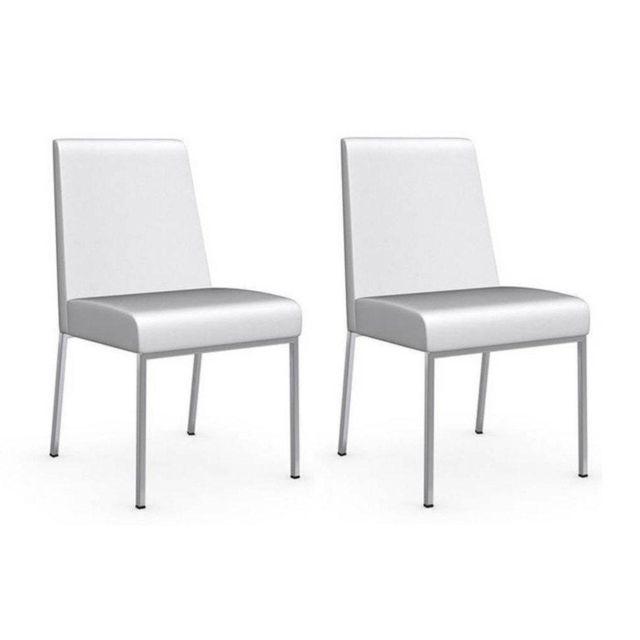 blanc assise cuir Chaise Amsterdam piétement acier chromé wvNn8Om0