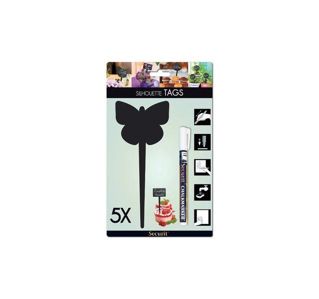 Securit Tag Ardoise silhouette Papillon 5 unités + 1 feutre craie liquide