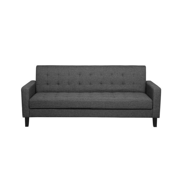 BELIANI Canapé lit en tissu gris foncé VEHKOO
