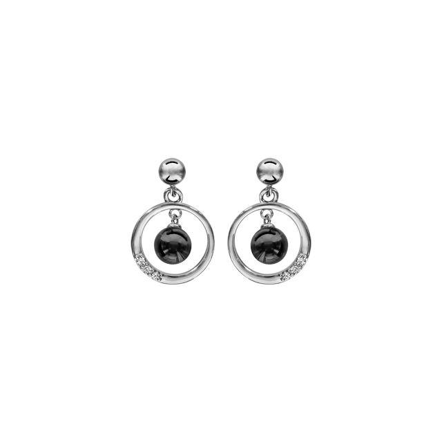 bas prix large choix de couleurs et de dessins 2019 real Boucles d'oreille tige argent rhodié cercle avec boule céramique noire