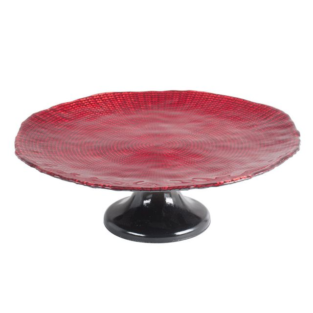TABLE PASSION PLAT A TARTE SUR PIED 32 CM INFINITY ROUGE