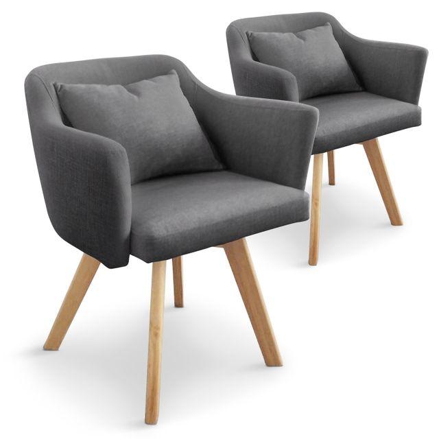 MENZZO Lot de 2 fauteuils scandinaves Dantes Tissu Gris foncé