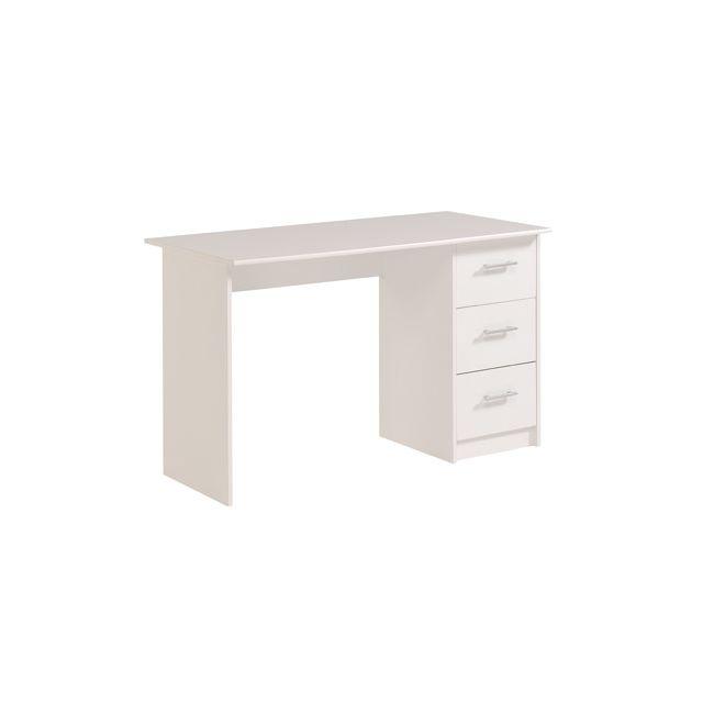 Bureau 3 tiroirs 121x55x74cm coloris blanc