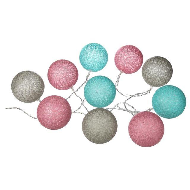 Atmosphera - Guirlande lumineuse Gris Rose Bleu 10 boules Led à piles 0ddc4a290d76