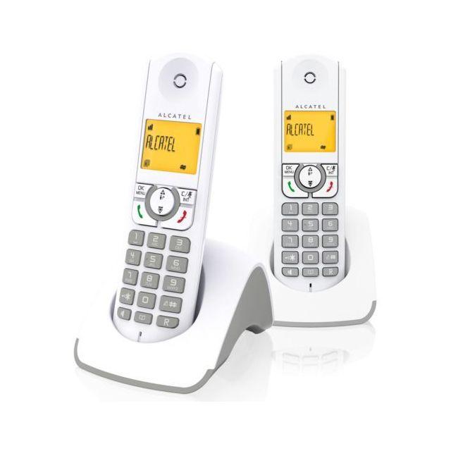 ALCATEL Téléphone Fixe Sans fil sans répondeur F330S Duo Gris Nouveau design, plus compact plus moderne !