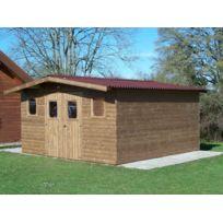 Habrita - Abri Thermabri madriers sans plancher, toit double pente 19,69 m²