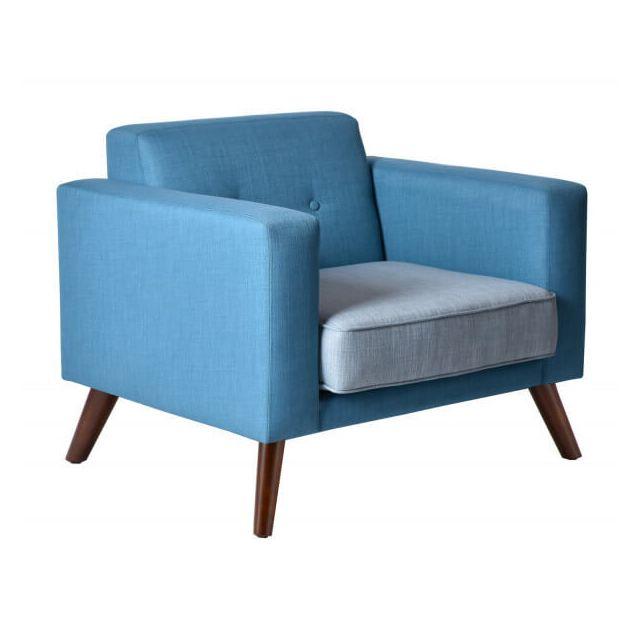 Mathi Design Miami - Fauteuil contemporain en tissu bleu