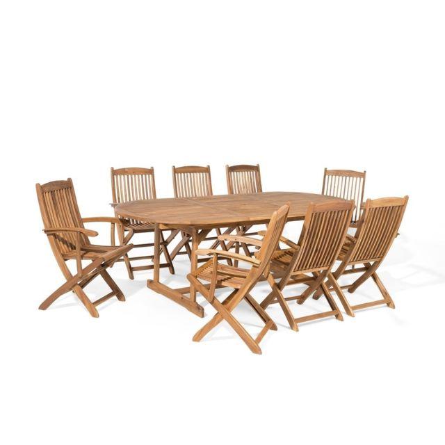 BELIANI - Table et 8 chaises de jardin en bois acacia Maui - pas ...