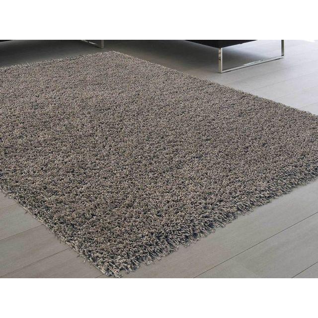 dlm tapis shaggy poil long taupe 60x110cm douceur pas cher achat vente tapis rueducommerce. Black Bedroom Furniture Sets. Home Design Ideas