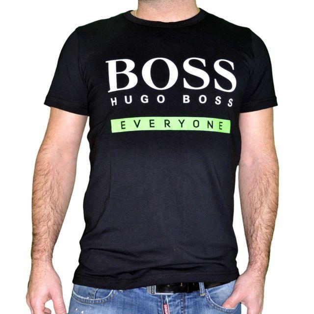 6c511836b2c Hugo Boss - En Solde T Shirt Manches Courtes - Homme - Everyone - Noir - pas  cher Achat   Vente Tee shirt homme - RueDuCommerce