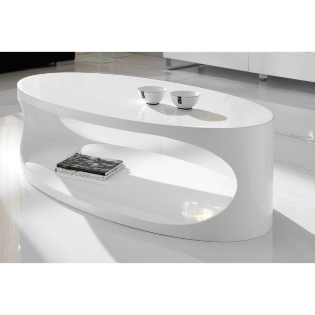 Nouvomeuble Table basse ovale blanc laqué design Oxy