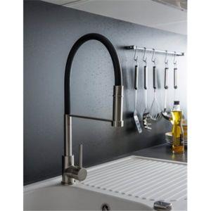 robinet douchette extractible mitigeur pour evier de cuisine inox brosse et noir bec haut mobile. Black Bedroom Furniture Sets. Home Design Ideas