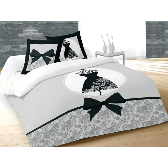 soleil d 39 ocre parure housse de couette dessin plac 260x240 cm black dress 100 coton 57 fils. Black Bedroom Furniture Sets. Home Design Ideas