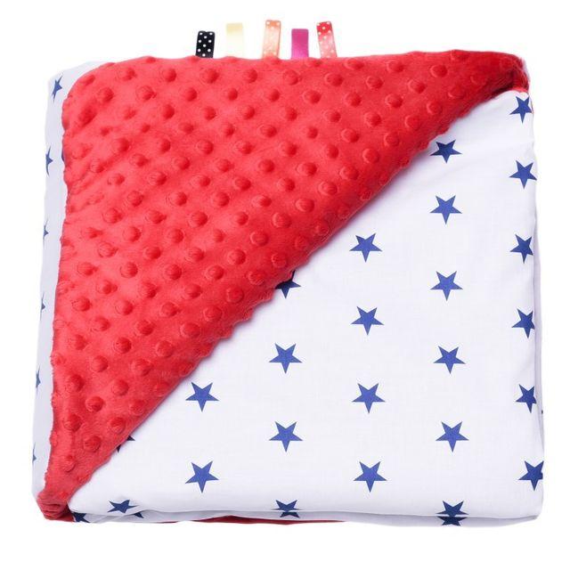 Sevira Kids Couverture Minky ultra douce - 100% Coton certifié - Étoiles - Rouge