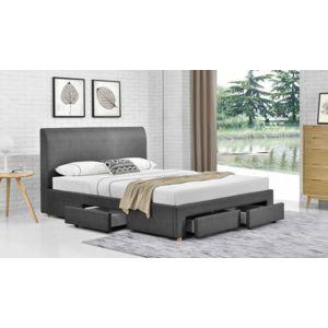 fournier decoration loft lit pu impression lin gris souris 140x190 cm 4 tiroirs pas cher. Black Bedroom Furniture Sets. Home Design Ideas